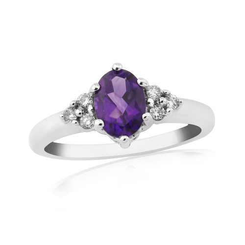Amethyst And Diamond 9 Carat White Gold Fancy Dress Ring